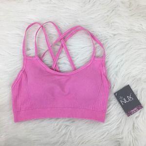 Nux Peloton Medium Pink Strappy Sports Bra New
